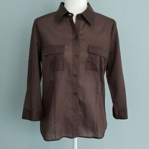 Geoffrey Beene Three-Quarter Brown Button Down